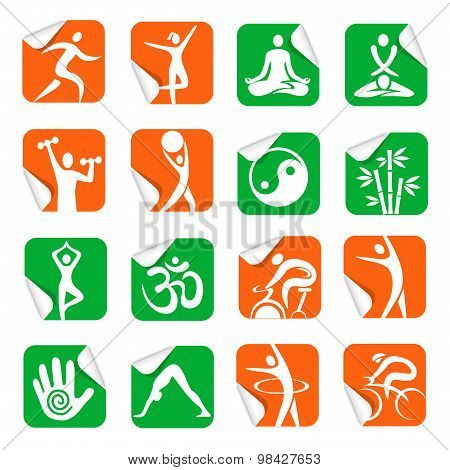 Stickers With  Yoga Spa Fitness Icons