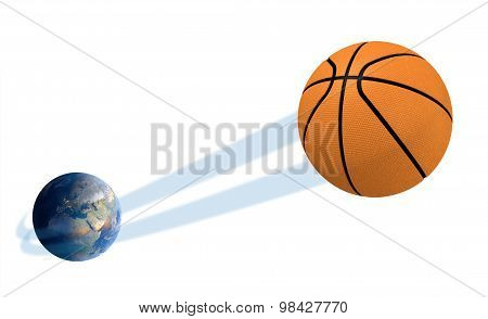 Earth With Ball Swoosh Isolated