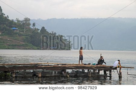 ferry dock in Parapat,the north Sumatra