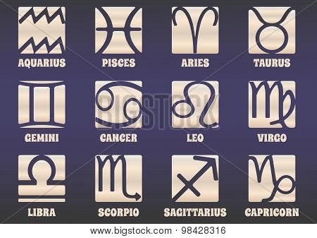 Set Of Twelve Horoscope Zodiac Signs