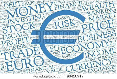 Euro word cloud with symbol of currency