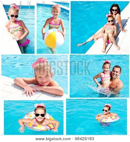 Collection Of Photos Family Having Fan On Summer Vacation