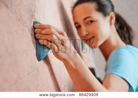 Sporty Girl Climbing Indoor