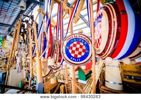 Metkovic, Croatia - July 20: Wooden Souvenirs On July 20, 2013.