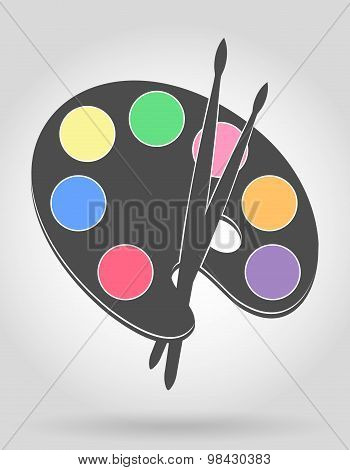 Icon Palette For Paints And Brush Vector Illustration