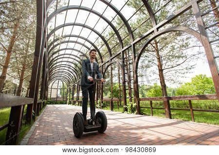 Concept for businessman using segway