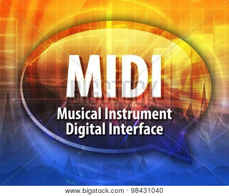 Speech bubble illustration of information technology acronym abbreviation term definition MIDI Musical Instrument Digital Interface