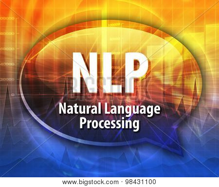 Speech bubble illustration of information technology acronym abbreviation term definition NLP Natural Language Processing