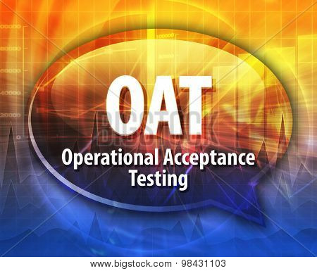 Speech bubble illustration of information technology acronym abbreviation term definition OAT Operational Acceptance Testing