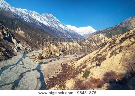 Himalayas Mountains And Marsyangdi River
