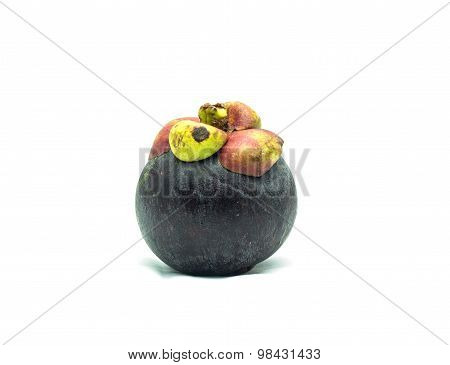 Fresh Mangosteen Isolated On White Background.the Queen Of Fruit