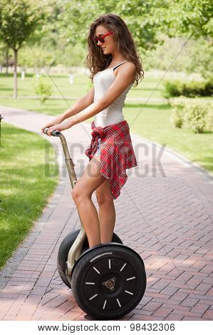 Concept for nice girl using segway
