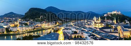 Panorama Beautiful view of the historic city of Salzburger Land, Austria at dusk