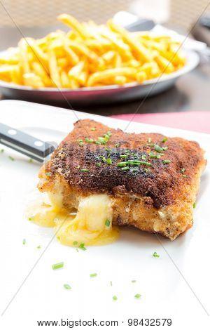 Chicken cordon bleu with deep fried potato
