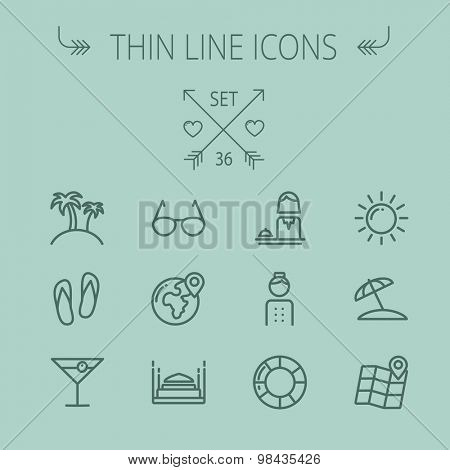 Travel thin line icon set for web and mobile. Set includes- sunglass, palm tree, wine, slippers, beach umbrella,map pointer icons. Modern minimalistic vector flat design.