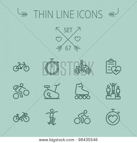 Sports thin line icon set for web and mobile. Set includes- stopwatch, skatboard, bicycle, mountain bike, motorbike, roller skate, heart and time, winners icons. Modern minimalistic vector flat design