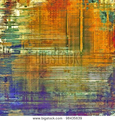 Abstract grunge background with retro design elements and different color patterns: yellow (beige); green; red (orange); purple (violet)