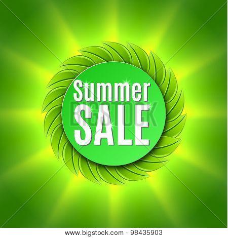 Summer sale  with fresh green leaf.