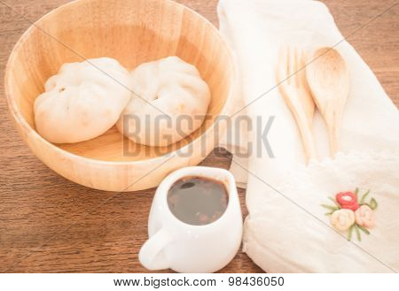 Steamed Dumpling Stuff On Wooden Bowl