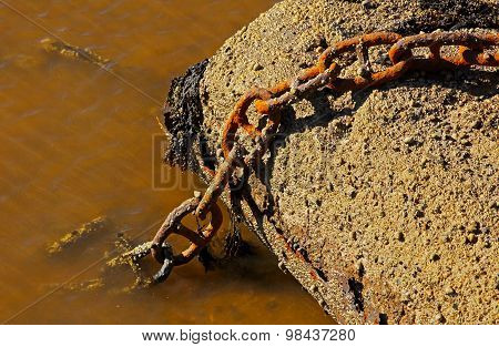 Rusty Marine Chain Harbor Water