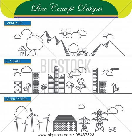 Vector Line Concept Icons Of Farmland Cityscape And Go Green Energy