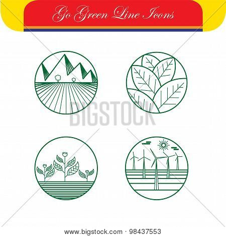 Landscape & Nature Vector Icons - Abstract Logo Templates & Line Symbols