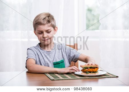 Fussy Kid With Chicken Sandwich