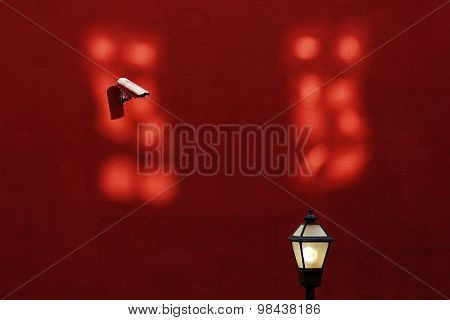 Urban Alley Camera Streetlight Red Wall