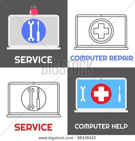 Computer Repair Service. Laptop Help Icon Set