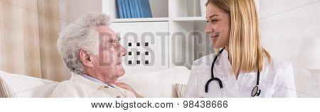 Visiting Old And Sick Man