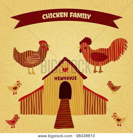 organic farm funny cartoon poster with family chicken: cock, hen with chickens, hen house. Hand draw