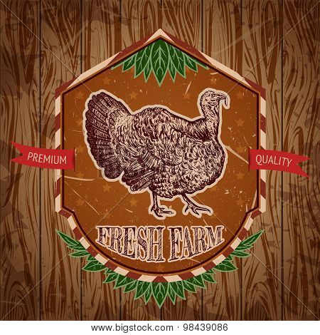 organic farm vintage label with turkey on the grunge background. Retro hand drawn vector illustratio