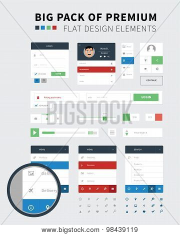 Pack Of Flat Design Ui Kit For Webdesign