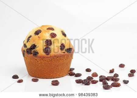 One Brown Muffin Bakery On White Background
