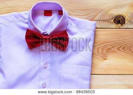 Pink Shirt And A Beautiful Bow Tie