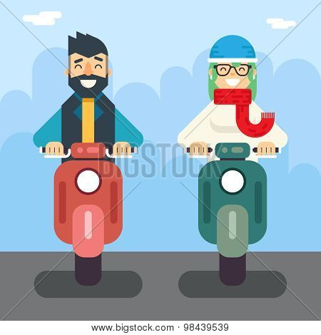Male Female Hipster Happy Smiling Character Retro Scooter Lifestyle Icon Ride Driving Symbol Flat De