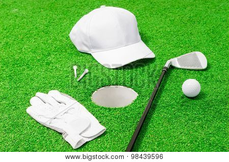 Hole And Objects For The Game Of Golf Around It
