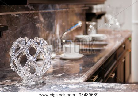 Beautiful Glass Vase On The Marble Worktop In The Kitchen