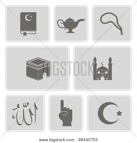 monochrome set with islamic icons