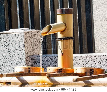 Japanese Water Basin From Bamboo Pipe Washing Hand