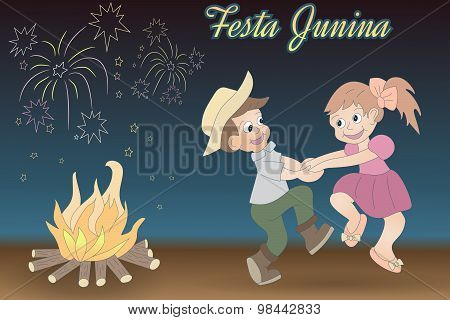 Cute Hand Drawing Of Dancing Children, Bonfire And Fireworks.