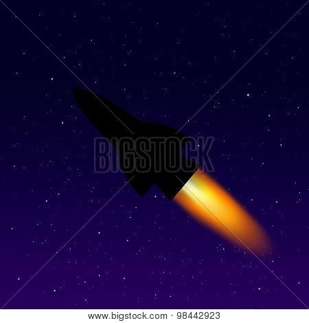 Space rocket on the night sky
