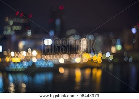 Blurred Bokeh Harbor Lights At Night