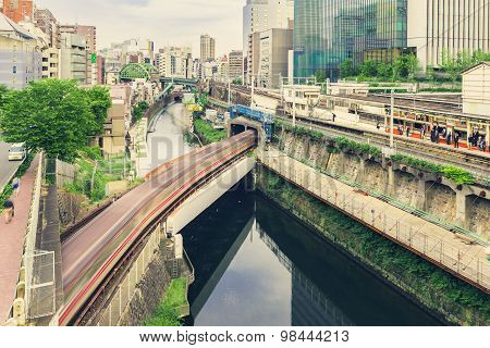 Multiple Train Lines In Ochanomizu, Tokyo, Japan