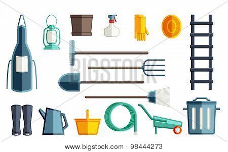Garden tools. Set flat vector garden tools for your design.