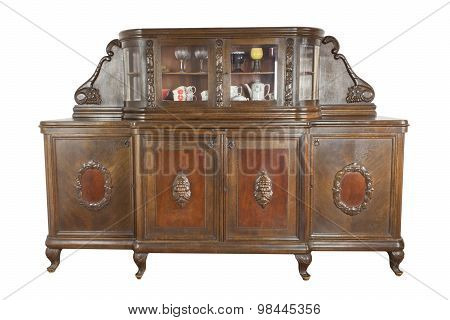 Vintage wooden art Nouveau cabinet isolated on white background.