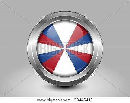 Flag Of Netherlands. Metal Round Icon
