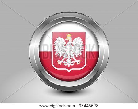 Flag Of Poland With Eagle. Metal Round Icon