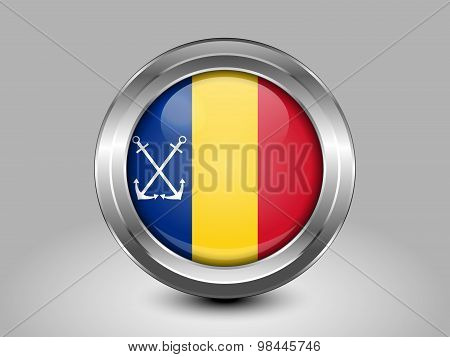 Flag Of Romania Naval Ensign. Metal Round Icon