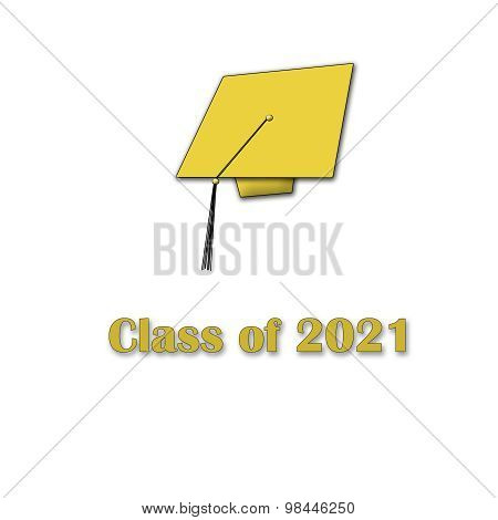 Class of 2021 Yellow on White Single Large
